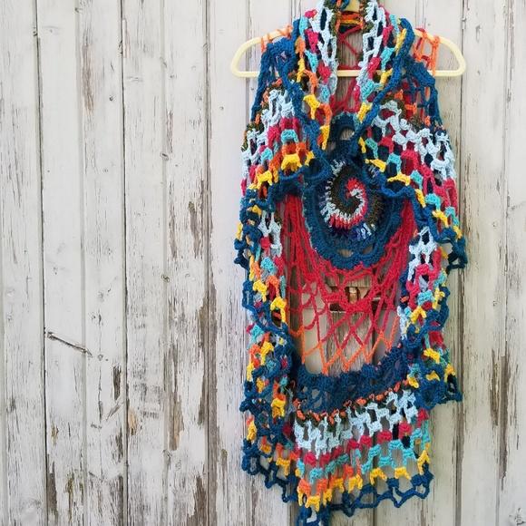 Found Things Art Jackets Coats Rainbow Boho Crochet Circle Vest